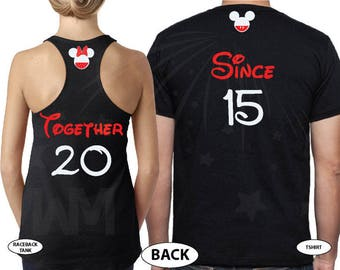 Disney Cute Matching Shirts Together Since Forever Mickey Minnie Mouse For Mr and Mrs Married With Mickey, 050
