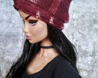 Maroon Knit Skater Beanie for 1/6 Scale Fashion Doll