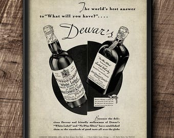 Dewar's · Scotch whisky · 1930s · Advertisement · Instant Download · Brewery · Printable #168