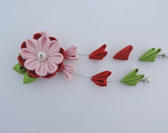 Kanzashi Fabric. Flowers hair clip with falls.