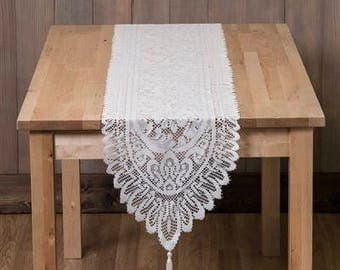 LACE TABLE RUNNER / Vintage / Ivory / Wedding / 13x72 inches