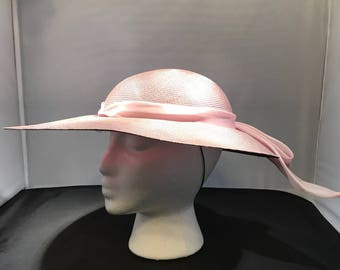 1986 Lavender Lady's Panama Style Dress Hat Made in Italy