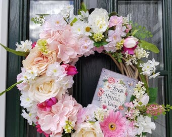 Shabby chic decor, pink wreath, floral wreath, door decoration, rustic wreath, vintage wreath, spring wreath, wreath sign, pretty florals