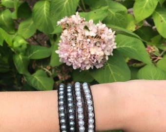 pearl double wrap bracelet