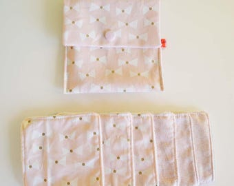 """Wipes cleansing washable organic tencel micro-eponge """"bows, pink, white and gold"""" + pouch"""