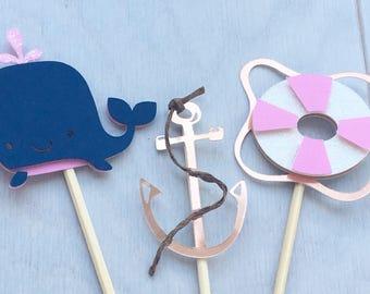 Nautical Cupcake Topper. Nautical Party Cupcake topper. Nautical Girl Baby Shower. Nautical Girl Cupcake Topper