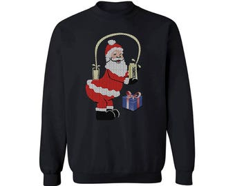 Santa Champagne Booty Sweatshirt Santa Champagne Booty Ugly Christmas Sweater for Men and Women Funny Santa Sweater Funny Christmas Gifts