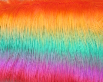 Strip of Faux Fur Rainbow, Long Pile Faux Fur Fabric Craft