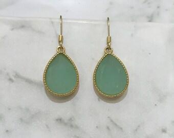 Dangle Teardrop Earrings Aqua