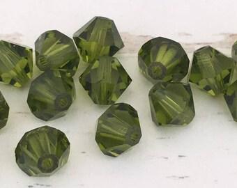 23 Olivine Swarovski Crystal Bicone beads, transparent olive green crystal bicone beads, 5mm