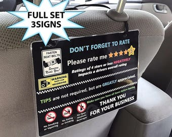 Uber and Lyft TIPS + 5 Star Rating  + DashCam Headrest Rideshare Sign (cam) (Set of 3)