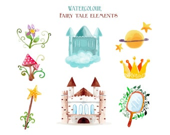 Watercolour Fairy Tale Clip Art Graphic Design PNG High Resolution I7