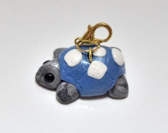 Turtle Charm, Clay Turtle Charm, Blue Turtle charm, Small Turtle, Bracelet charm, Key charm, Pull-tag charm, Turtle Collectible, OOAK,