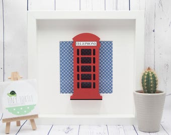 Telephone box frame, new baby gift, christening gift, baby shower gift, nursery decor, personalised gift, birthday gift, wooden box frame