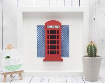 Telephone box frame, new baby gift, christening gift, baby shower gift, nursery decor, personalised gift, birthday gift, wooden box frame