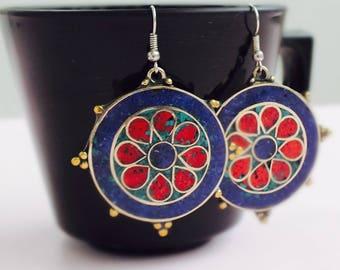 Long boho earrings, Long stone earrings, lapis earrings, turquoise earrings, ethnic stone earrings, long ethnic earring, long Nepali earring