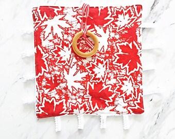 Canada150 Blanket | Red And White Minky Teething Blanket | Security Blanket | Lovey | White Minky Lovey | Sensory Blanket | Teething Toy |