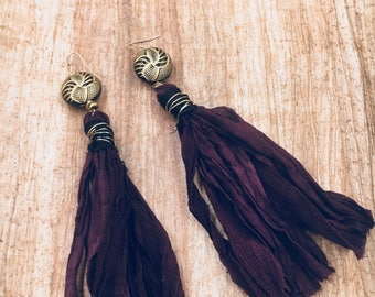 Sari silk, art deco inspired tassel earrings