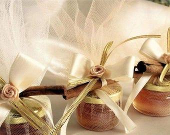 5 WEDDING HONEY JARS favours/ 5 honey jars with cinnamon stick decoration