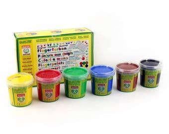 6x 150gr. Nawaro finger paints, natural product. (100gr per color 2.78)