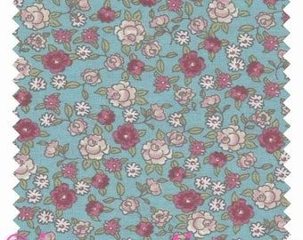 "Fabric ""Flowers spring summer Mint Rose"" 100% cotton sold by the yard"