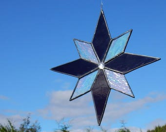 Eight pointed stained glass star
