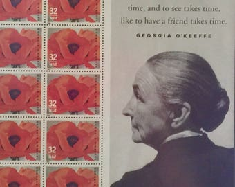 Red Poppy 1927, Georgia O'Keeffe Stamps Framed!