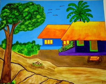 Orange houses,banana tree, birds flying.
