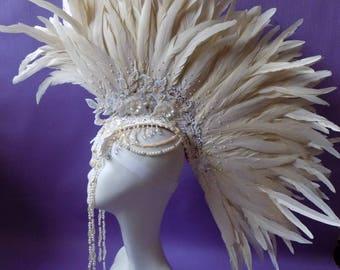 """Headdress """"Beige Mohawk Glamor"""""""