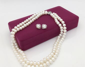 Special sparkling Rose Pearl necklace gift set box included with free shipping