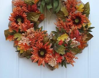 Fall Wreath/Autumn Wreath/Front Door Wreath/Flower Wreath/Sunflower Wreath
