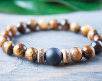 Tiger Eye Bracelet Mens Beaded Bracelet Mens Wood Bracelet Mens Tiger Eye Wood Jewelry Daddy Bracelet Distance Bracelet Rocker Bracelet Gift