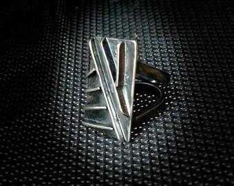 ROADS Sterling silver handmade original dark lines ring size 4.5