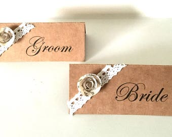 Rustic Wedding Place Cards - Kraft Place Cards - Rustic Name Cards - Table Plan - Wedding Stationary - Bride - Groom - Folded Place Cards