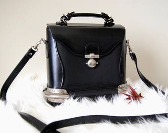 Vintage Black Cross body with Silver Hardware Detail