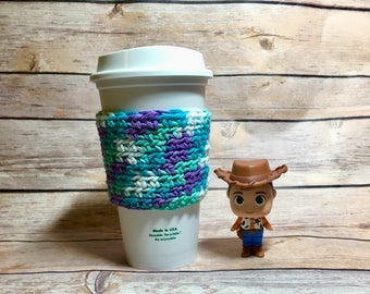 Magical Ocean Colored cup cozy, coffee cup cozy, crochet cup cozy, coffee cup sleeve, crochet cozy, crochet cozie, Starbucks Dunkin coffe