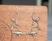 Art Nouveau Ornate Flower Earrings French Brass Antique Vintage Style