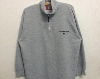 Vintage 90's Converse Sweatshirts Large Size Half Zipper Up Nice Design