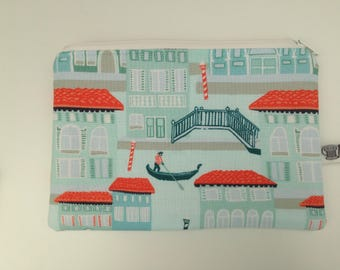 Small makeup bag; zippered pouch; venice, gondala, venice canals, holidays in venice.