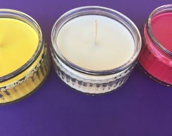assorted summer fruit scented glass container candles