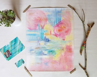 "Large abstract original watercolor painting // Rainbow Colors // ""Exuberant"" 18x24"