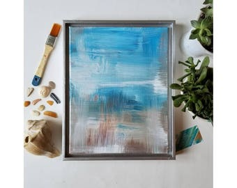 "Original Acrylic Artwork //Nature Inspired Abstract Expressionist Painting //  11×14 // blue, white, tan // ""Beach Brush. 3"""