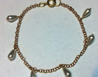 """Gold Bracelet for women """"Pearly pears"""""""