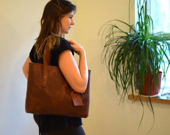 Leather tote - Structured Purse - Brown handbag - Shoulder bag - Leather Purse - Tote bag - Brown Leather Tote - Large Leather Bag - Tote