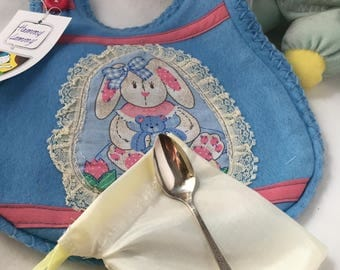 Baby Blue Bunny Baby Bib Gift Set with Vintage Baby Spoon