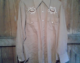Brown Embroidered Mexican/Western snap button Shirt Fits M