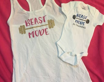 mother son matching, workout tank, beast mode, exercise tank, mommy and son matching outfits, mothers day gift, mom gift, baby boy, mom life