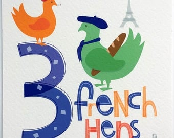 Three French Hens Hand-lettered Print