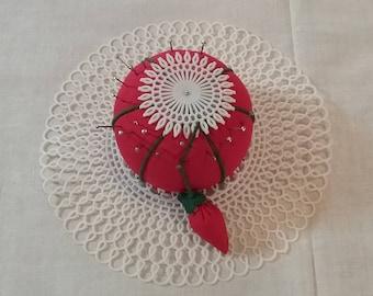 Vintage red tomato pin cushion