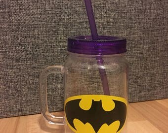 Batman plastic jar with straw